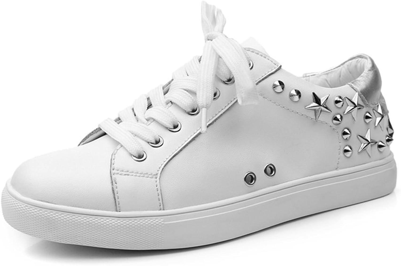 Damenschuhe NAN PU Sommer Breathable Breathable Bequeme Rivet runde Zehe Weiße Schuhe Flacher Boden (Farbe   Weiß, Größe   EU36 UK4 CN36)  bis zu 70% sparen