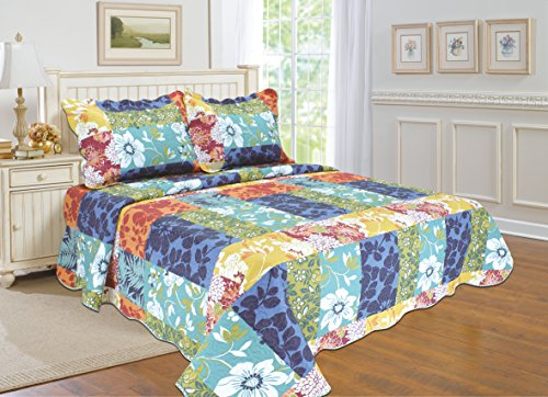"""ALL FOR YOU 2pc Reversible Bedspread, Coverlet,Quilt Set-Flower and Patchwork Prints-Twin size-68""""x 86"""""""
