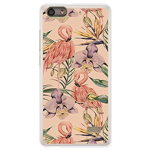 BJJ SHOP Funda Transparente para [ Huawei G Play Mini ], Carcasa de Silicona Flexible TPU, diseño: Flamencos y Flores Violeta