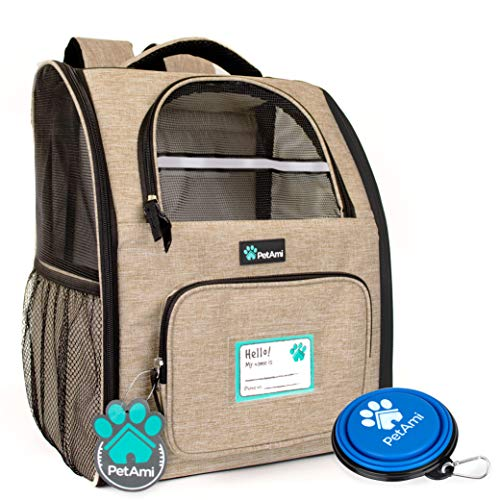 PetAmi Deluxe Pet Carrier Backpack for Small Cats and Dogs, Puppies | Ventilated Design, Two-Sided Entry, Safety Features and Cushion Back Support | for Travel, Hiking, Outdoor Use (Heather Taupe)