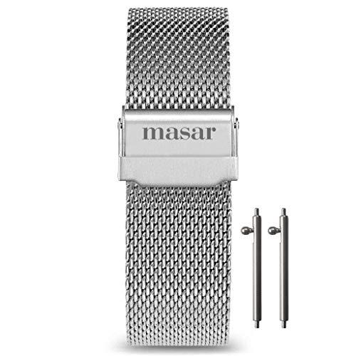Masar 18mm Argento Cinturino per orologio multi cinturino in maglia milanese a sgancio rapido 18 mm LR argento