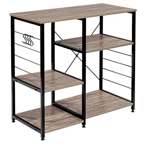 WOLTU RGB9324dc Küchenregal Standregal Mikrowellenhalter Bäcker Regal Metallregal aus Holz und Stahl, mit 5 Ablagen, ca. 90 x 40 x 83,5 cm, Schwarz + Dunkelbuche