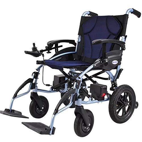 N/Z Inicio Equipos Silla de Ruedas eléctrica Batería de Litio Scooter Viejo Plegable Ligero para discapacitados Azul