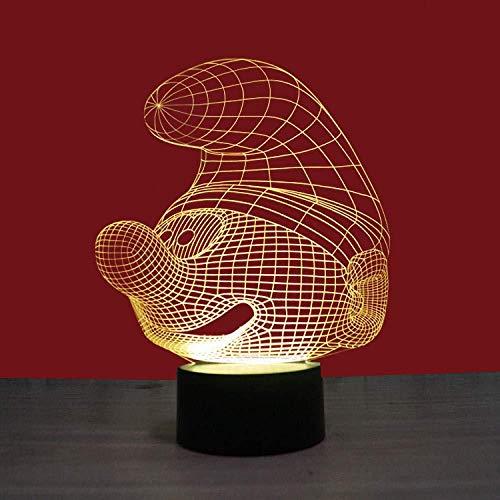 Die Schlümpfe 3D Nachtlicht LVYONG Optische Illusion Lampe 16 Farbwechsel Mit Fernbedienung Oder Touch Tragbare Usb Aufladung Oder Batterie Tischlampen Besten Geschenke Für Kinder.