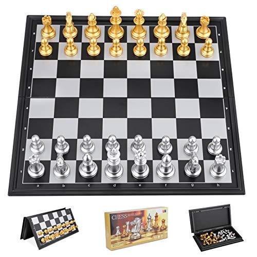 Ajedrez Profesional, Juego de Ajedrez Magnetico, Plegable Tablero Ajedrez Piezas Ajedrez para Viaje y Fiesta, Chess Ajedrez Regalos para Niños y Adultos (25x25cm)