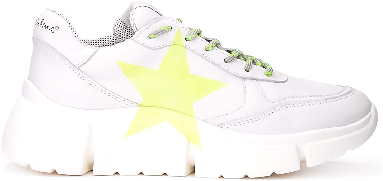 Nira Rubens Woman's Sneaker Stinger Running in Pelle white Con Stella yellow Fluo