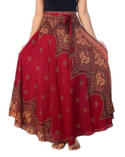 Lannaclothesdesign Women's 37' Long Maxi Skirt Bohemian Gypsy Hippie Style Clothing (US 37 INC S-M, Burgundy Peacock Flower)