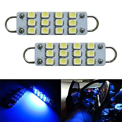 iJDMTOY 12-SMD-3528 1.72-In 43mm 211-2 212-2 214-2 561 Rigid Loop Festoon LED Bulbs For Car Side Door Courtesy Lights, Ultra Blue