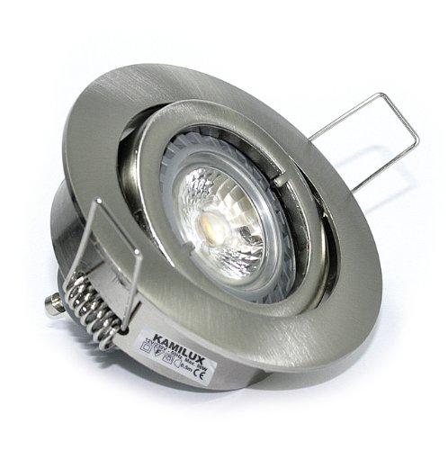 10er Set Einbaustrahler/Spot Bajo in Edelstahl-gebürstet, Halogen oder LED geeignet, inkl. GU10 Fassung 230V, auch für MR16 Fassung 12Volt geeignet, ohne Leuchtmittel