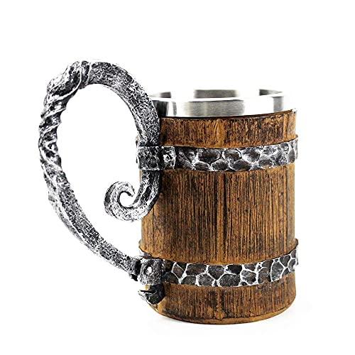 Yongqin Jarra De Cerveza Jarra De Imitación De Madera Barril De Acero Inoxidable Tazas De Cerveza Estilo Vikingo Taza De Cerveza De Madera Jarra Vasos