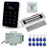 LIBO Kit de Sistema de Control de Acceso de Puerta con 180kg/350lbs Cerradura Magnética Eléctrica, DC12V Fuente de Alimentación, Botón de liberación, 10pcs llaveros