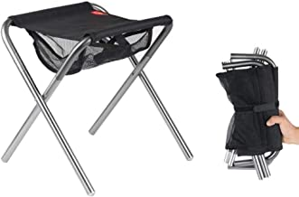 Folding Stool,Stools Lightweight Folding Stools Fold Up Fishing Stool Ideal Portable Travel Chair For Camping Hiking (Color : Silver, Size : 25.5 * 30 * 36cm) HRTT