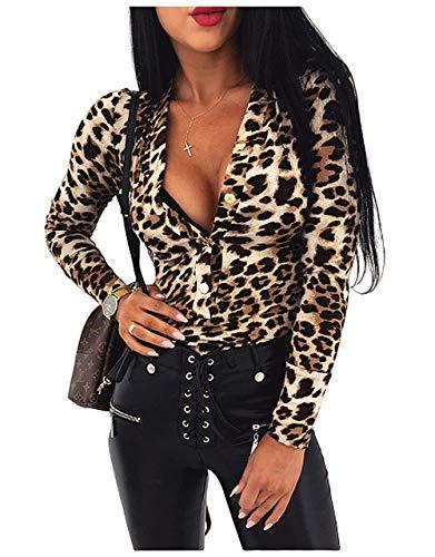 Carolilly Damen Bodysuit V-Ausschnitt Leopard Schlangenhaut Druck Body Bodycon Overall Langarm Jumpsuit,Style-c,S