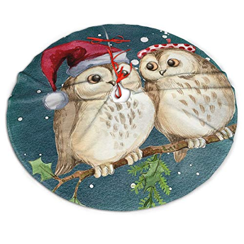 HTRBUOH Christmas Owl Lover Christmas Tree Skirt for Xmas Holiday Decorations Indoor Outdoor 30'