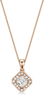 Mestige Women Glass Rose Gold Thea Necklace with Swarovski Crystals