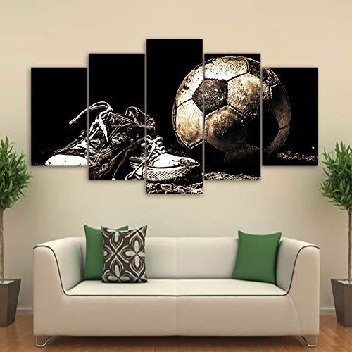 XGDDSS 5 Leinwandbilder HD gedruckt 5 Stück Leinwand Kunst Fußballschuhe Malerei Wandbilder Modulare Malerei Home Decor Rahmenlos