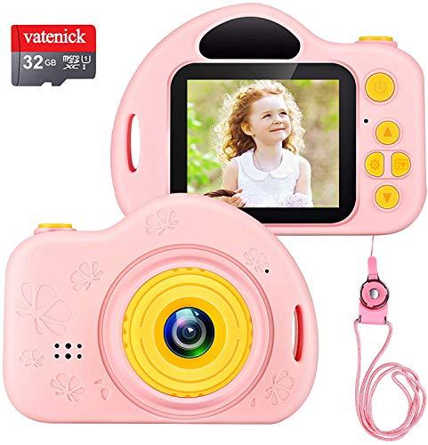 Cámara Digital para Niños Juguete para Niños Regalos Cámara De Vídeo A Prueba De Choques Pantalla HD de 2 Pulgadas 1080P Regalos Tarjeta TF de 32GB Regalos para Niños y Niñas de 3 a 12 Años.