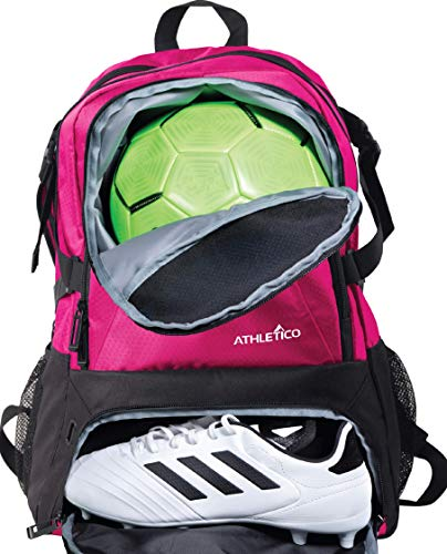 Athletico National Soccer Bag - Rucksack für Fußball, Basketball & Fußball inkl. separater Klampe und Ballhalter, Rose