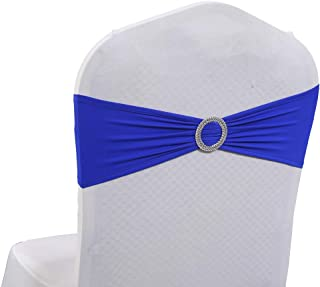 mds Pack of 100 Spandex Chair Sashes Bow sash Elastic Chair Bands Ties with Buckle for Wedding and Events Decoration Lycra Slider Sashes Bow - Royal Blue