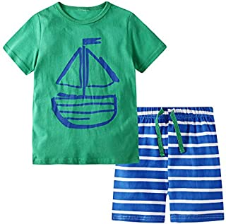 Image of Blue and Green Sailboat Shorty Pajamas for Toddler Boys - See More