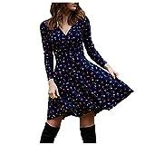 VEMOW Vestidos Vintage para Mujer, Vestido Corto Playeros de Mujer Estampado Floral Cuello en V Elegante Retro Mangas Largas/Corta Primavera Verano Diaria Fiesta Formal Vestido Swing(B Azul,L)