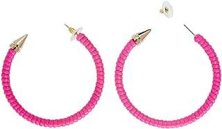 Amakando Bijoux Fantaisie créoles Boucles d'oreilles années 80 Pink Fluo Clips d'oreilles Mode Accessoires pour déguisemen...