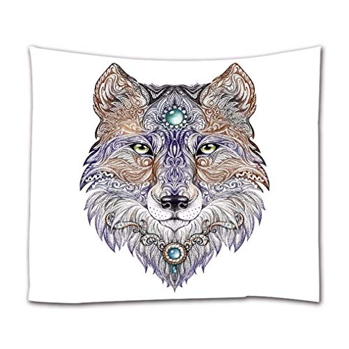 Wolf Head Tattoo Design Animal Themed Art Print Fabric Wall Tapestry Wall Hangings Art Decors Bed Covers Picnic Blanket 153X229Cm/60 X90 60x51in(130x150cm)