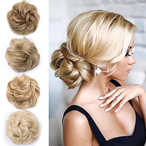 Hair Extensions Haargummi Dick Haarteil wie Echthaar Günstig Gewellt Dutt mit Haare Natürlich Haarverdichtung 35 Gramm Hellbraun & Blond