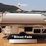 AWNLUX RV Awning Fabric Replacement Waterproof Vinyl Shade Screen for Awnings Camping Universal Fit Fabric Sun Shade UV Sun Blocker Canopy RV Awning Shade Shelter Brown Fade-18'(Fabric 17'2