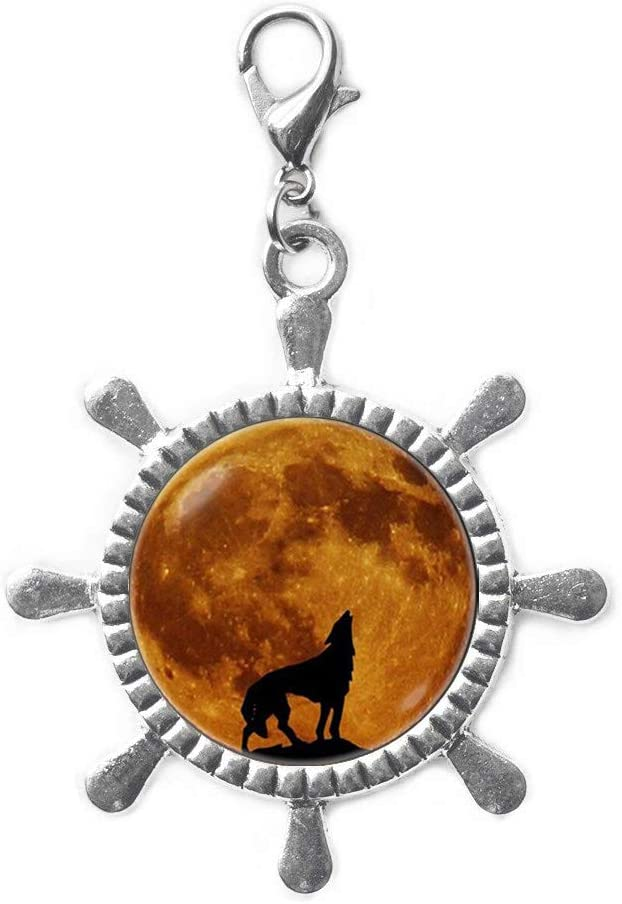 Howling Wolf Moon Lobster Our shop OFFers the best service Inexpensive Clasp Jew Rudder Zipper Pull