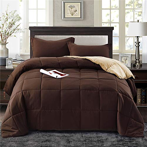 HIG 3pc Down Alternative Comforter Set - All Season Reversible Comforter with Two Shams - Quilted Duvet Insert with Corner Tabs -Box Stitched –Hypoallergenic, Soft, Fluffy (Full/Queen, Chocolate)