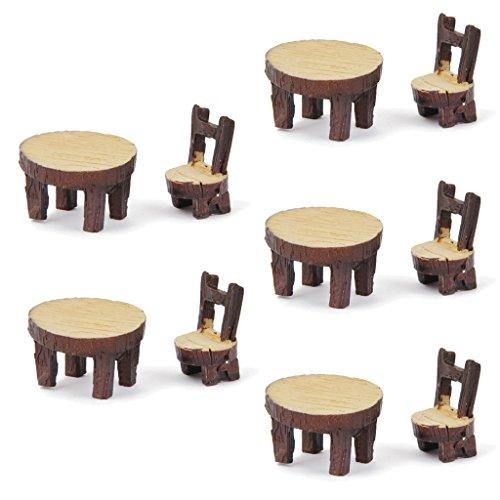 5 Juegos De Mesa De La Silla De Resina Miniatura Micro Bonsai Paisaje Decoración Casa De Muñecas