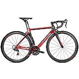 LXZH Specialized Bicicleta de Carretera Carbono, Bicicletas de Carreras 22 Velocidad Shimano R8000 para Hombre Mujer,Rojo,46CM
