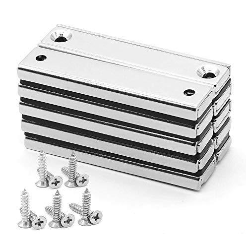 Neodym Magnete,Extra Stark Magnet Schrauben, 70lbs (32KG) Zugkraft,Stark, Permanent,N52 Rare Earth Magnete, 60mmx13.5mmx5mm Magnet Anschraubbar