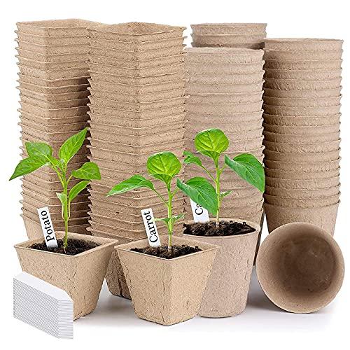 100 Piezas Semilleros Biodegradables Macetas de Semillas 8cm Macetas de Turba con 100 Etiquetas de Plantas para Cultivar Plantones de Hortalizas y Flores.