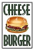 YY-one Metallschilder Vintage Cheese Burger Blechschild