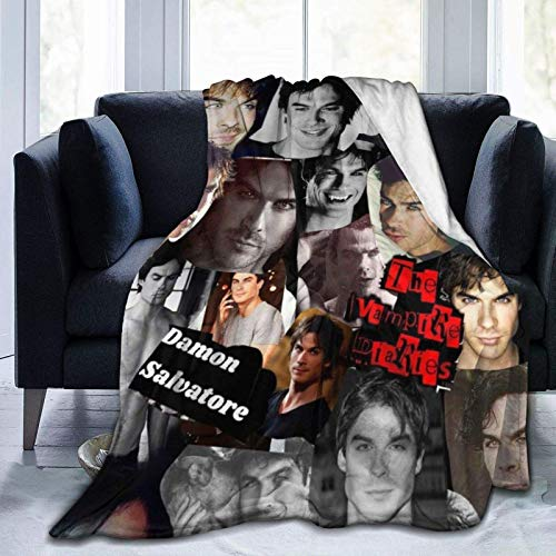 Salvatore Team Damon Vampire Collage Throw Blanket Vampire Diaries TV Show Merch Fans Art Gifts Bedding Sofa Soft Flannel Fuzzy Throw Blanket for Bedroom Couch Home Decorations 50'x40'