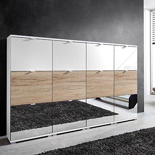Lomado XL–Zapatero en Roble Sanremo, Blanco Brillante & Espejo, para 48Pares de Zapatos, B X H X T Aprox. 212x 132x 30cm
