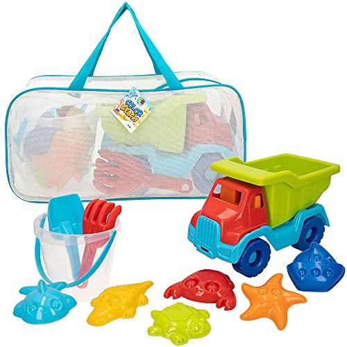 ColorBaby - Juguetes de playa para niños, bolsa juguetes playa, cubo arena, diámetro 18 cm, cedazo, pala, rastrillo, regadera, camión, moldes arena, +18mese (49273)