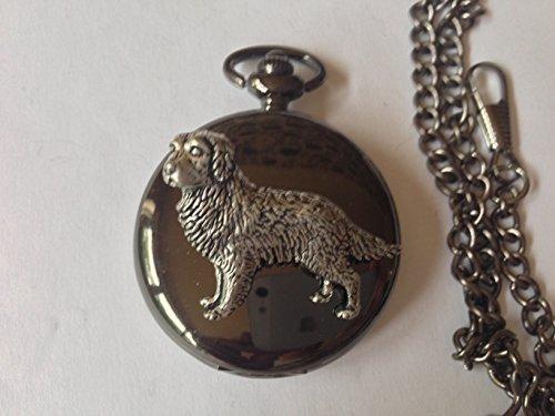Golden Retriever D4 regalo, colore: Nero lucido, Orologio da uomo al quarzo, fob, made in sheffield