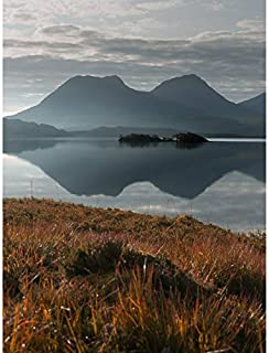 Wee Blue Coo Loch Bad A Ghaill Lake Mountains Scottish Photography Art Print Canvas Premium Wall Decor Poster Mural Lac Mo...