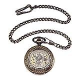 DHRH Reloj de Bolsillo Personalizado y Cadena para Hombres, Reloj de Bolsillo clásico de Cuarzo Vintage, Regalo para cumpleaños, Aniversario