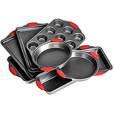 Elite Bakeware 8 Piece Ultra NonStick Baking Pans Set - Bakeware Set - Cookware Set