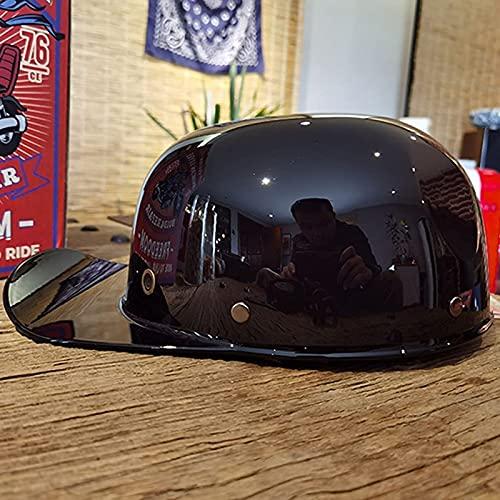 Portatile Mezzi Caschi Jet da Moto,ECE Approvato Moto Helmets,Retrò Casco Scooter Unisex Adulti per Cruiser Chopper Scooter Ciclomotore Adatto per Street Bike Rock D,S=55~56CM