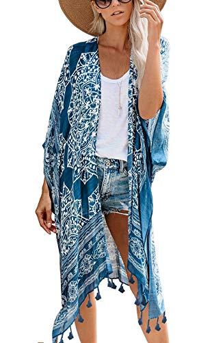 May Story Kimono de verano para mujer, con estampado, manga