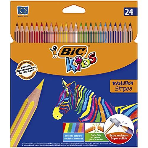 BIC Kids Evolution Stripes Colored pencils - Assorted colors, 24 blister units