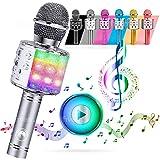 ATLAS. Micrófono Karaoke, inalámbrico Bluetooth USB LED Flash Micrófono portátil para promoción regalo Altavoz inalámbrico para fiestas, también para jugar a los niños, micrófono para niños (plata)