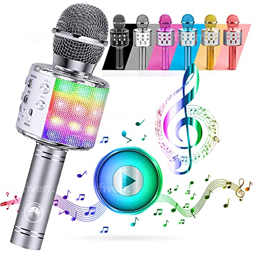 ATLAS. Microfono Karaoke, Wireless Bluetooth USB LED Flash Microfono Portatile per promozione regalo Altoparlante wireless per feste, Anche per far giocare i bambini, microfono bambini.(ARGENTO)