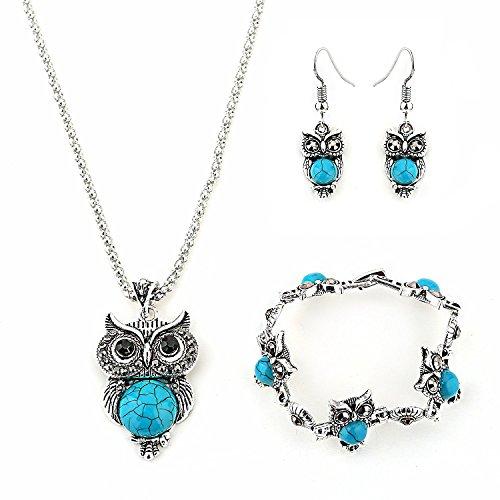Hosaire Collar Pendientes Pulsera Retro Mujer Elegante Joyas Cristal Conjunto De Búho Colgante Cristal Colgante + Pendientes + Pulsera