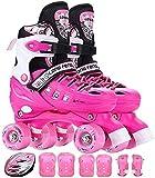 Patines Patinador de Rodillo Ajustable para Principiantes Ligero Patines Quad Patines de Seguridad Casco Skate Set para niños Niños Junior Boys Girls Mujeres para Mujeres y Hombres